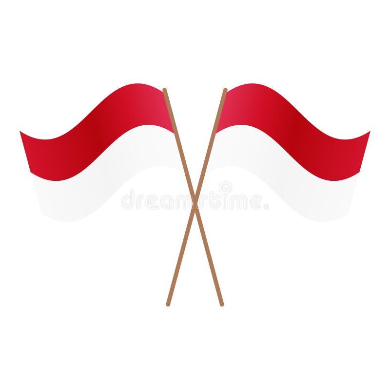 Symmetriska korsade Indonesien flaggor royaltyfri illustrationer