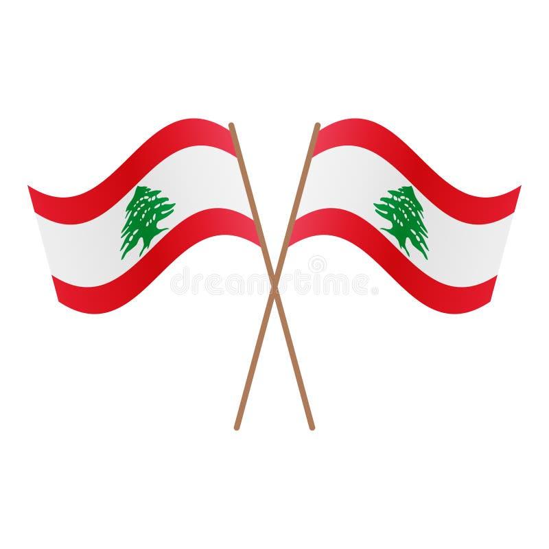 Symmetriska korsade Libanon flaggor royaltyfri illustrationer