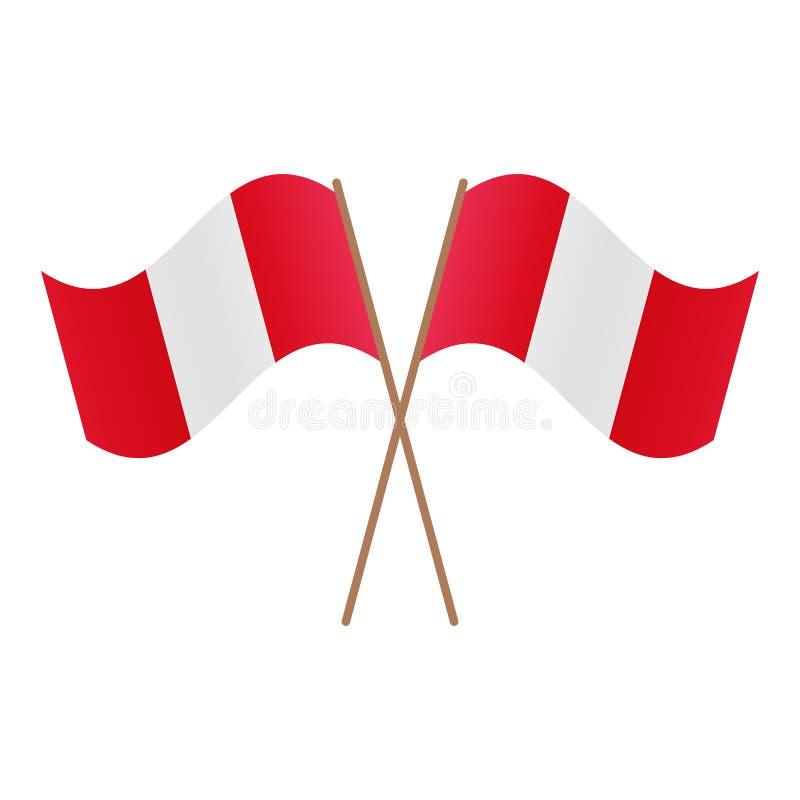 Symmetriska korsade Peru flaggor royaltyfri illustrationer