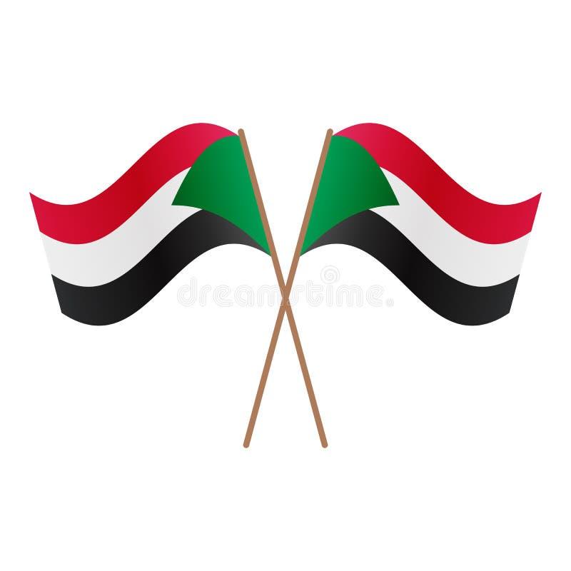 Symmetriska korsade Sudan flaggor vektor illustrationer