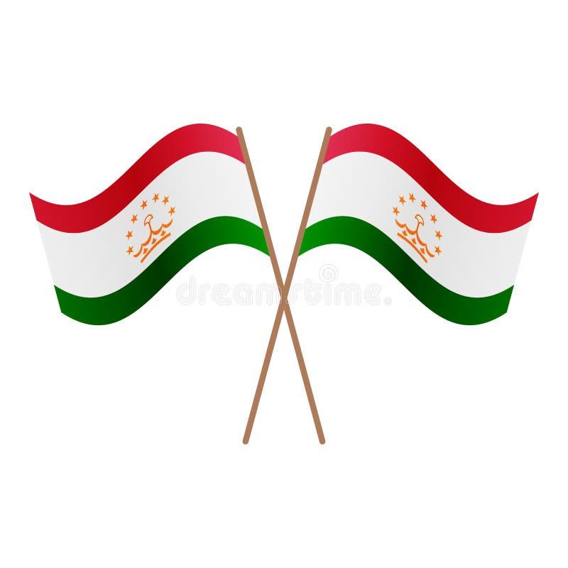 Symmetriska korsade Tadzjikistan flaggor royaltyfri illustrationer