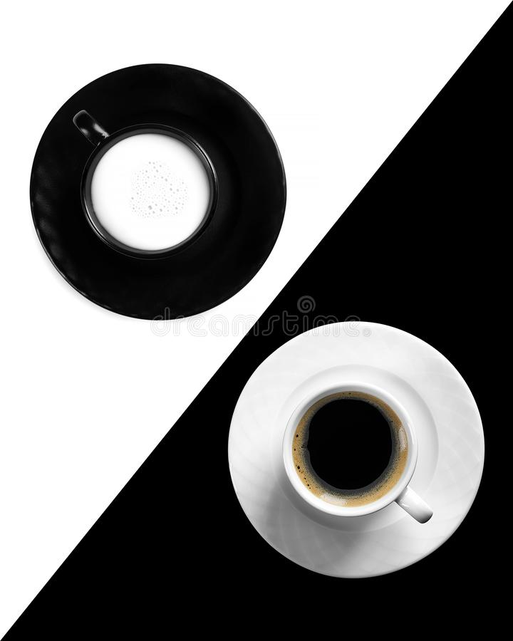 Symmetry with cups of coffee and milk stock image