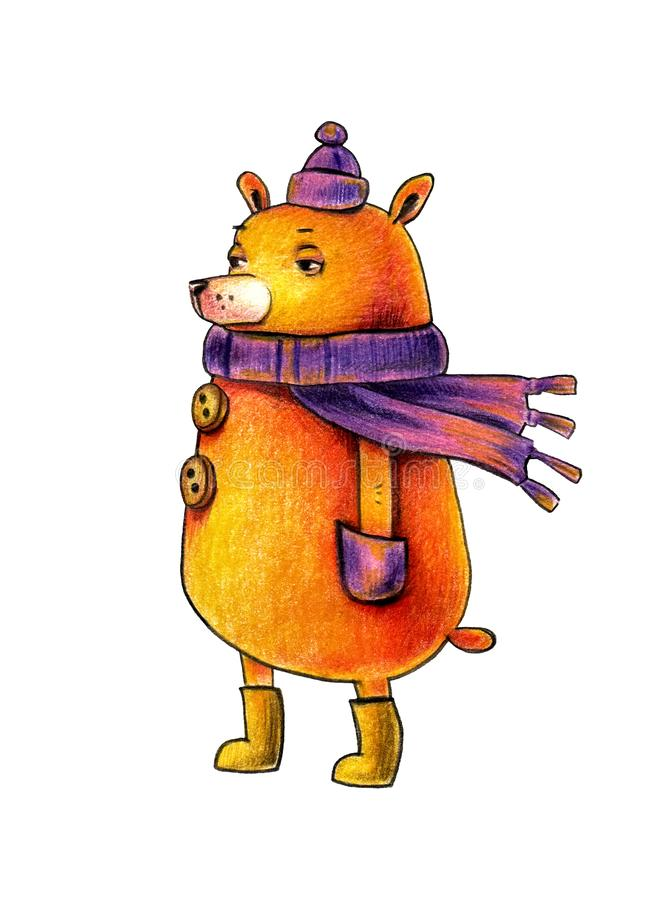 Sympathetic bear in a winter hat and a warm blue scarf, stands in the wind. illustration on white background. vector illustration