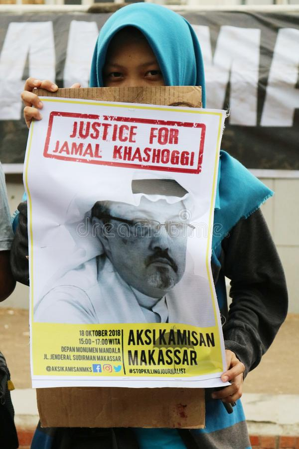Sympathie voor de dood van Jamal Khashoggi royalty-vrije stock foto's
