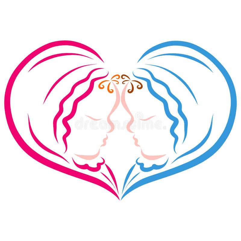 Sympatia, noworodkowie, chłopiec i dziewczyna, bliźniacy ilustracji