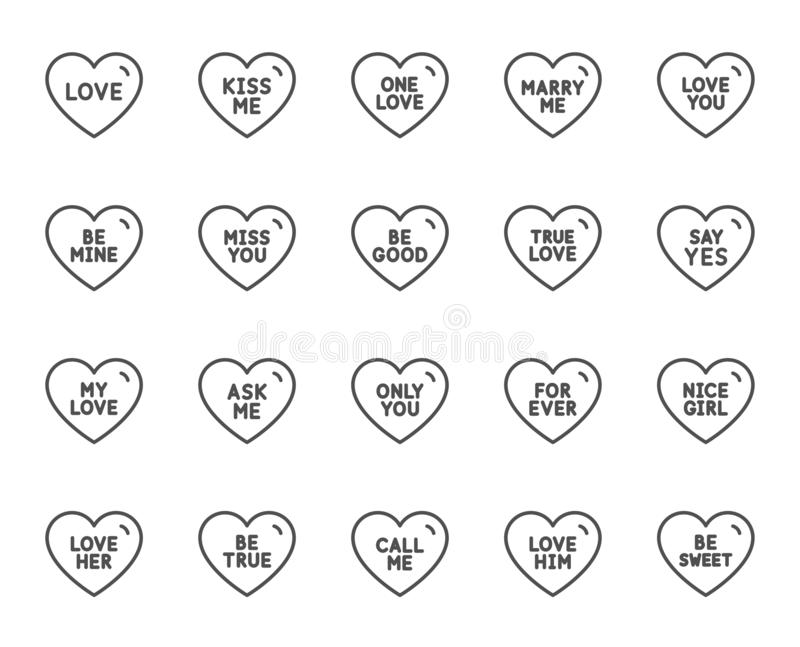 Sympatii kreskowe ikony Sympatia dla valentines dnia, miłości serce wektor royalty ilustracja