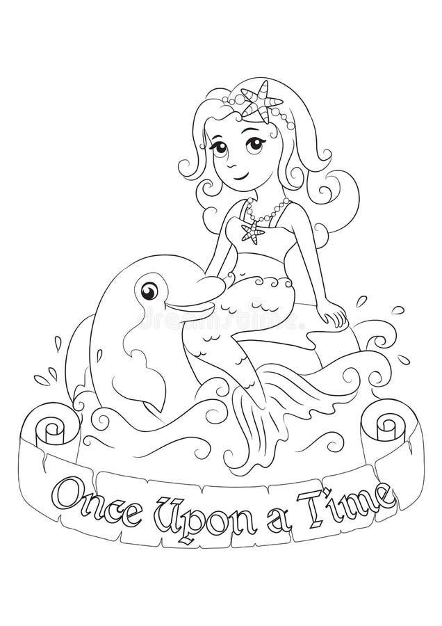 Sympatii syrenka bawić się z delfinem royalty ilustracja