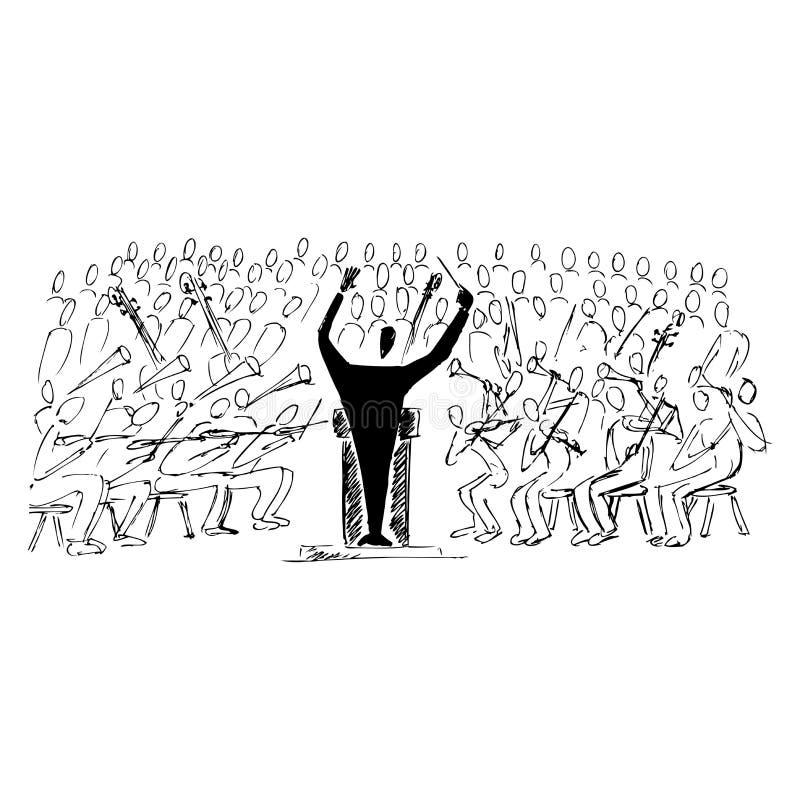 Symphonic konsert vektor illustrationer