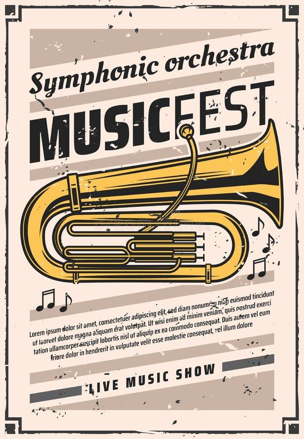 Symphonic orkester på musikfesten, tappningaffisch stock illustrationer