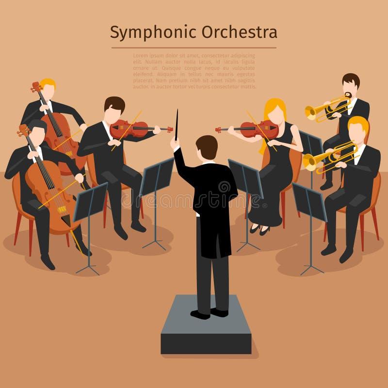 Symphonic orkestervektorillustration stock illustrationer