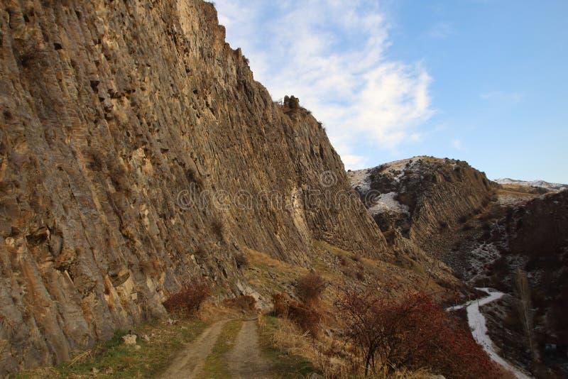 Symphonie von Steinen oder Basalt-Organ in Garni-Schlucht, Armenien stockfotografie