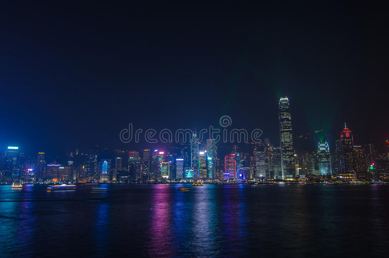 Symphony of light at Victoria harbour at night stock images