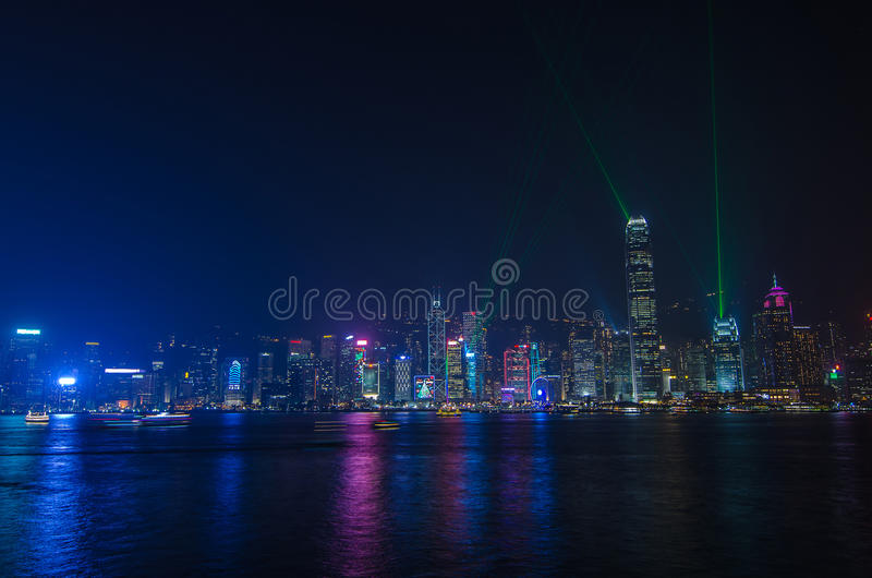 Symphony of light at Victoria harbour at night stock photos