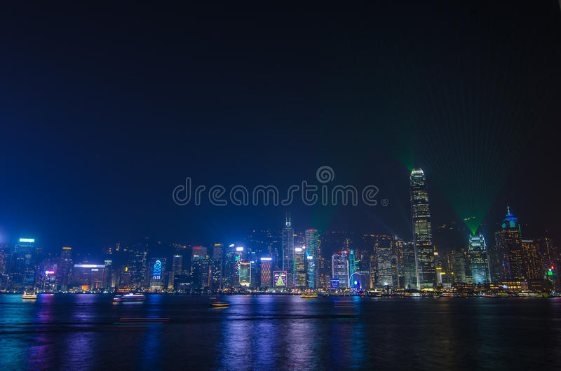 Symphony of light at Victoria harbour at night stock image
