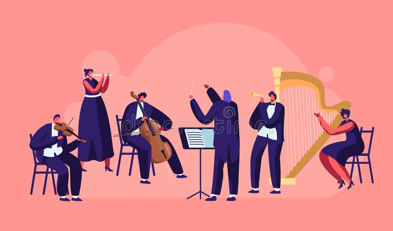 Symphony Orchestra Playing Classical Music Concert, Conductor and Musicians with Instruments Performing on Stage with Violin royalty free illustration