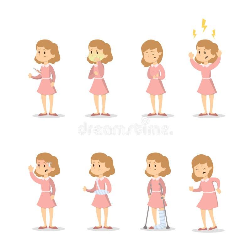 Symptômes avec la femme illustration stock