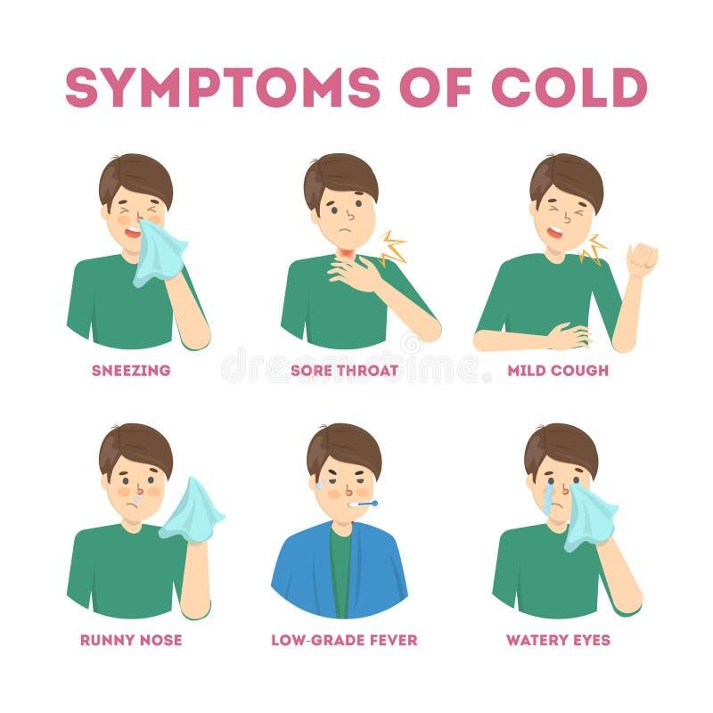 Symptômes froids et de grippe infographic Fièvre et toux illustration stock