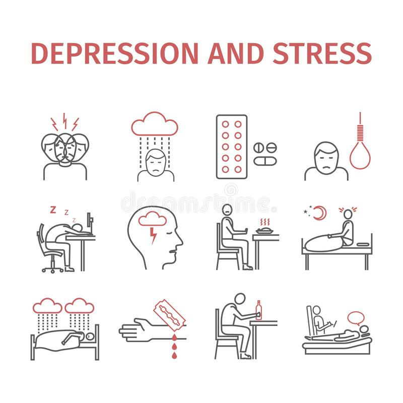 Symptômes infographic de dépression, traitement Ligne icônes réglées Signes de vecteur pour des graphiques de Web illustration stock