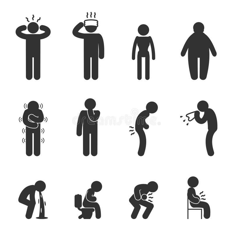 Symptômes des icônes de la maladie de personnes Malade et défectuosité illustration de vecteur