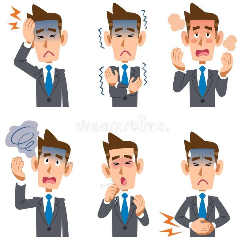 Symptome der Geschäftsmannkrankheit 6 stock abbildung