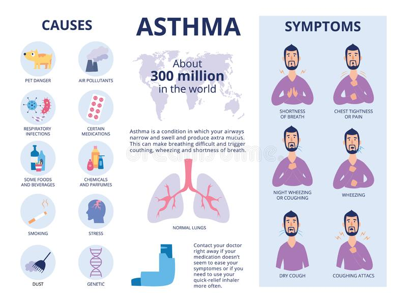 The symptoms and causes of asthma poster or banner flat vector illustration. stock illustration