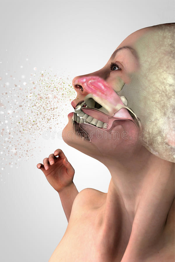 Symptoms of a cold, human anatomy, 3d section, allergy and pollen. Symptoms of a cold, human anatomy, 3d section of a face, girl with cold. Allergy pollen. 3d royalty free illustration