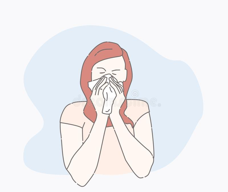 Symptoms of a cold patient. sick person. Symptoms of a cold patient. hand drawn style vector design illustrations. runny nose character. Health And Pain. the vector illustration