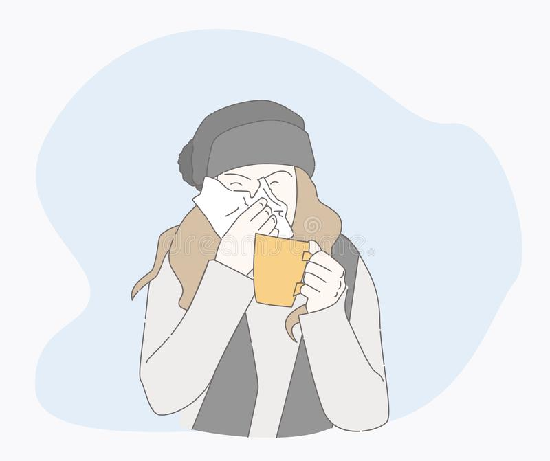 Symptoms of a cold patient. sick person. Symptoms of a cold patient. hand drawn style vector design illustrations. runny nose character. Health And Pain. the stock illustration