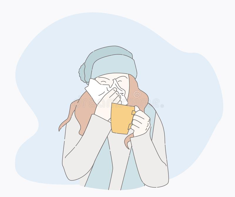 Symptoms of a cold patient. sick person. Symptoms of a cold patient. hand drawn style vector design illustrations. runny nose character. Health And Pain. the royalty free illustration