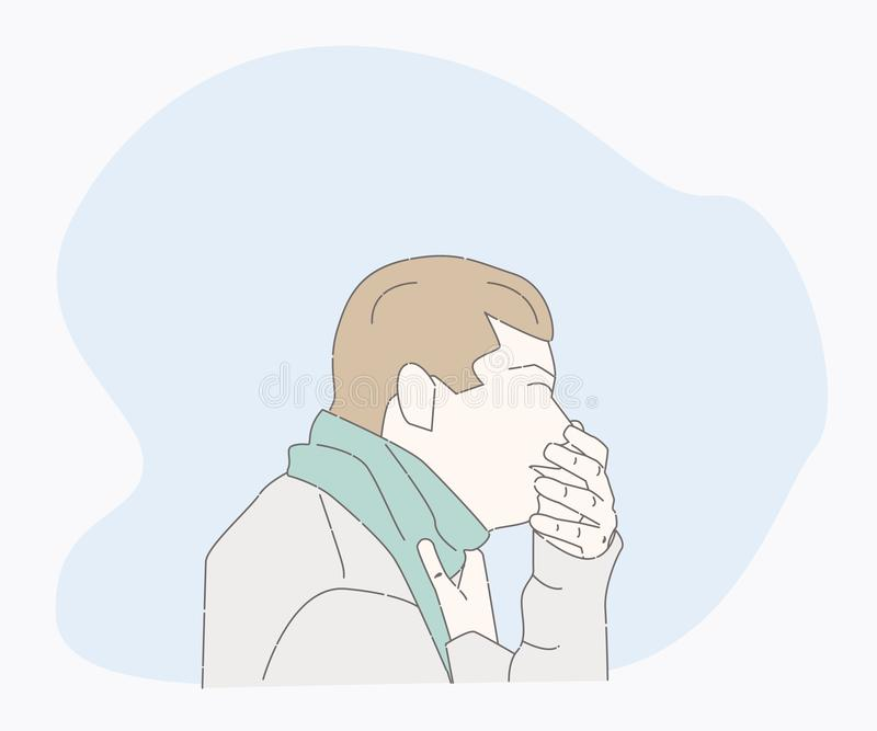 Symptoms of a cold patient. sick person. Symptoms of a cold patient. hand drawn style vector design illustrations. cough character. Health And Pain. the guy are stock illustration