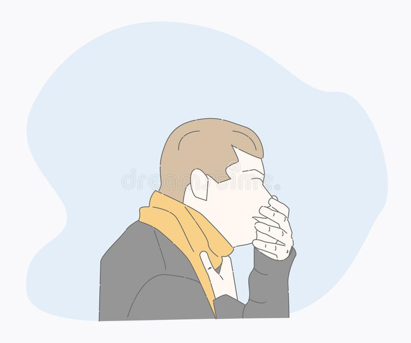 Symptoms of a cold patient. sick person. Symptoms of a cold patient. hand drawn style vector design illustrations. cough character. Health And Pain. the guy are royalty free illustration