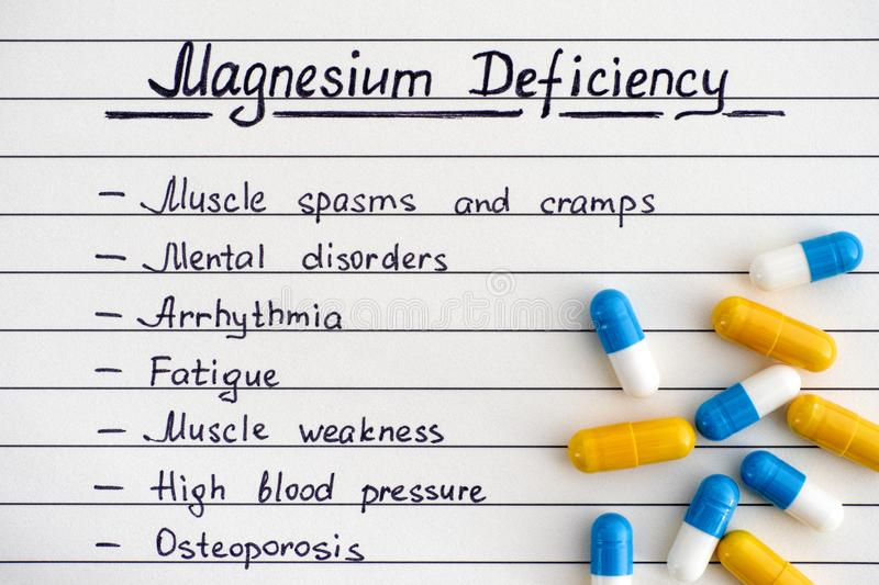 Symptoms of Magnesium Deficiency with some pills. Close-up stock photography