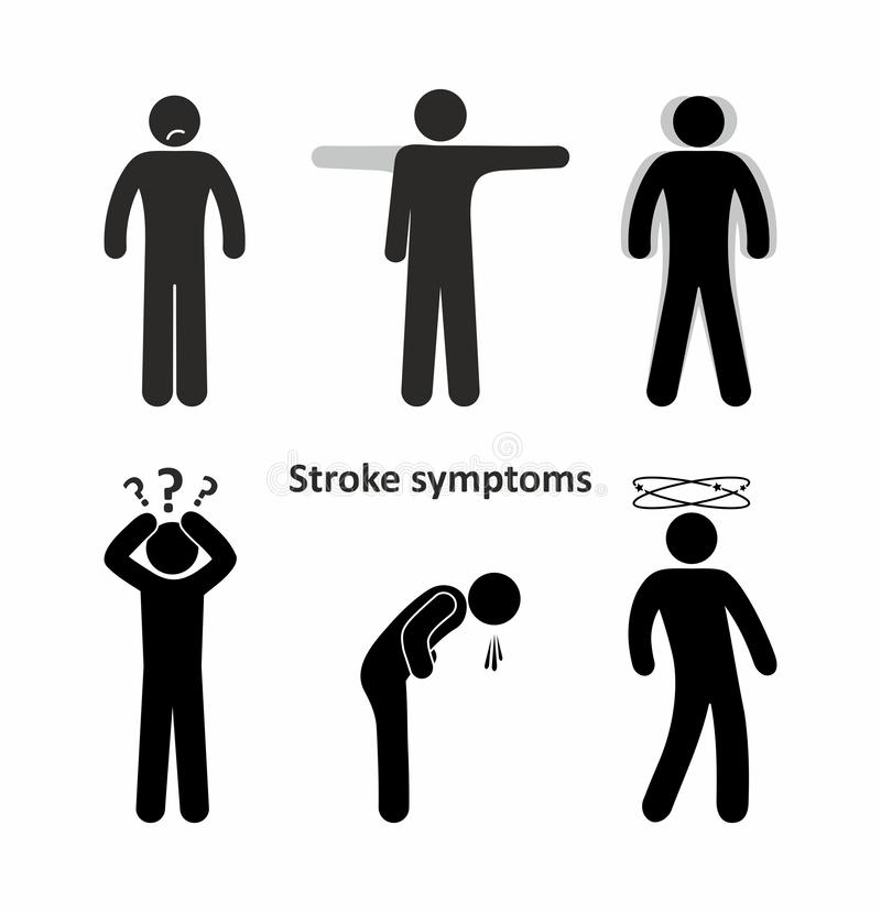 Symptoms of stroke, man illustration royalty free stock images