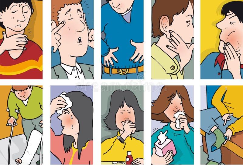Symptoms. Various symptoms affecting various people vector illustration
