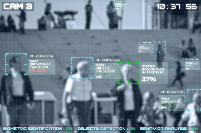 Symulacja ekran cctv kamery z twarzowym rozpoznaniem fotografia royalty free