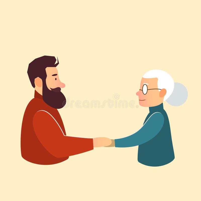 Syn lub wnuk z macierzystą babcią royalty ilustracja