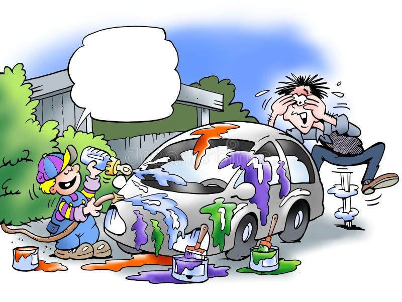 Syn malował ojca samochód ilustracja wektor