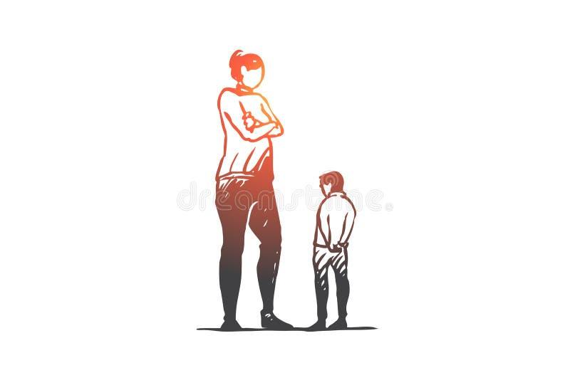 Syn, matka, gniewna, rodzic, wzburzony pojęcie Ręka rysujący odosobniony wektor ilustracja wektor