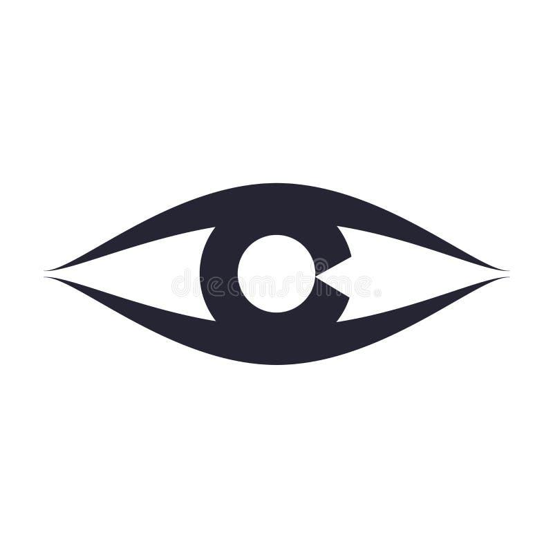 Syna det symbolsvektortecknet och symbolet som isoleras på vit bakgrund, ögonlogobegrepp royaltyfri illustrationer