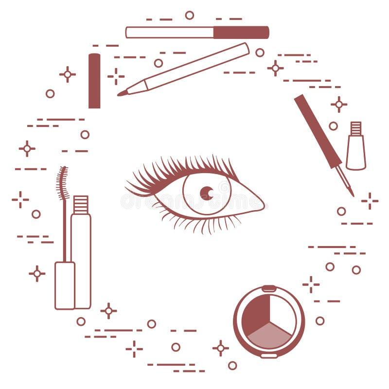 Syna Makeup dekorativa skönhetsmedel vektor illustrationer