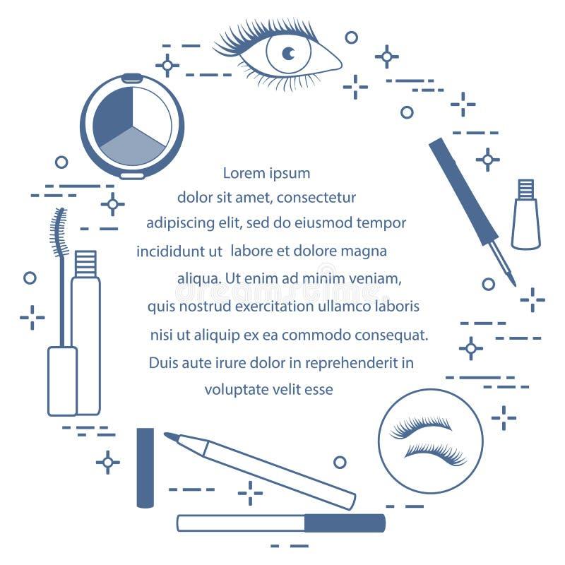 Syna Makeup dekorativa skönhetsmedel royaltyfri illustrationer