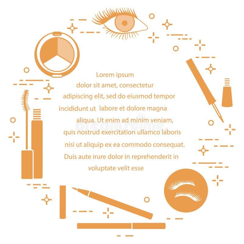 Syna Makeup dekorativa skönhetsmedel stock illustrationer