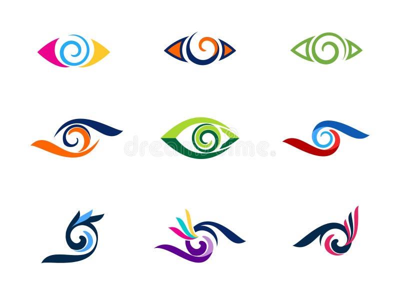 Syna visionlogoen, mode, ögonfrans, logoer för samlingsvirvelögon, cirkla det optiska illustrationsymbolet, vektor för sfärvirvel vektor illustrationer
