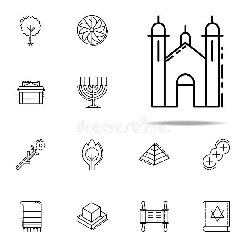Synagogasymbol Universell uppsättning för judendomsymboler för rengöringsduk och mobil vektor illustrationer