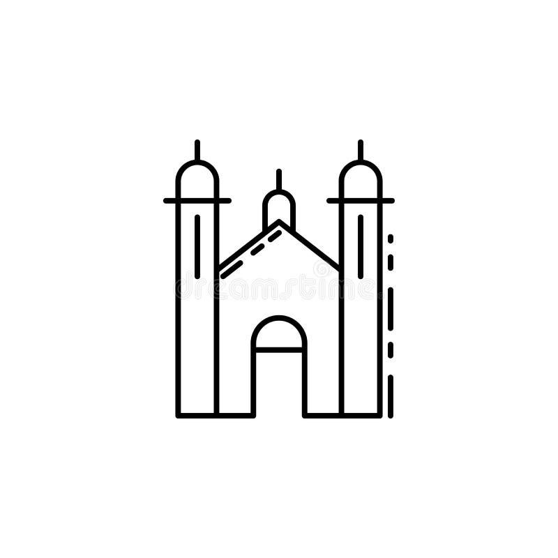 Synagogepictogram Element van Joods pictogram voor mobiel concept en Web apps Het dunne pictogram van de lijnsynagoge kan voor We stock illustratie