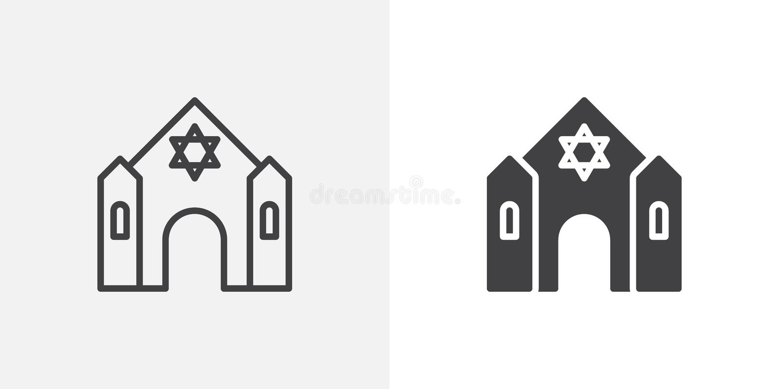 Synagogue building icon. Line and glyph version, Jewish synagogue outline and filled vector sign. linear and full pictogram. Symbol, logo illustration stock illustration