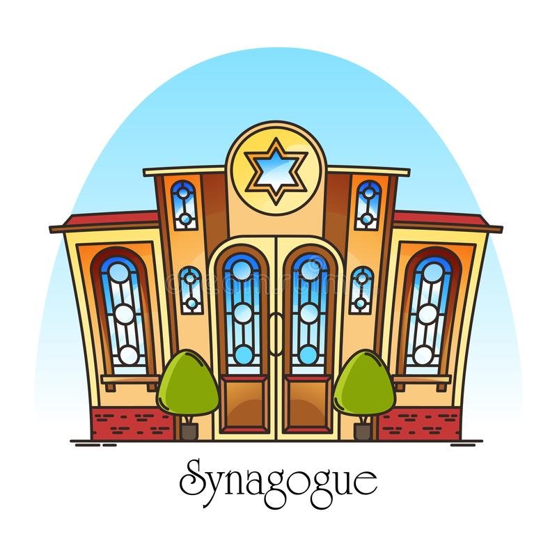 Synagogue building or jewish temple. Synagog royalty free illustration
