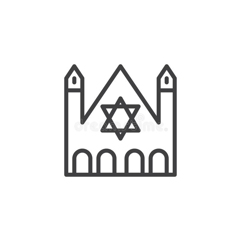Synagogue building outline icon vector illustration