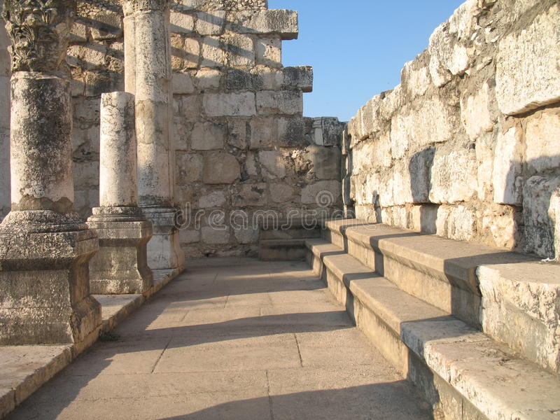 Synagogue in Capernaum. Benches for sitting stock image