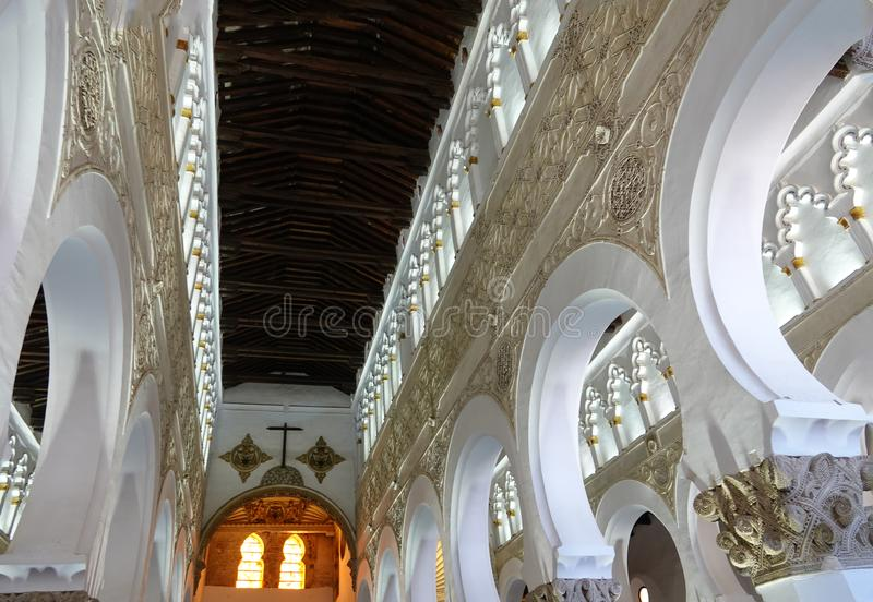 Synagogue or church of Santa María la Blanca in Toledo stock photo